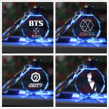 ALLKPOPER Kpop BTS Keychain EXO GOT7 DIY LED Crystal Key Chain Bangtan Boys Wings Keyring