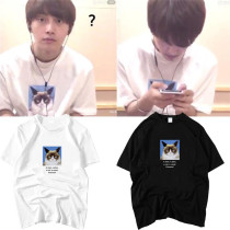 ALLKPOPER KPOP PRODUCE101 Kimyongguk T-shirt Selfie Tshirt Cartoon Cat Tee Casual Tops 2017 New