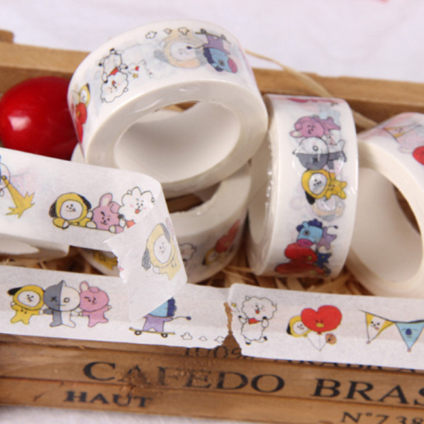 ALLKPOPER  KPOP BTS BT21 Washi Tape Paper Maksing Cute DIY Scrapbook Stickers