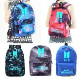 Kpop BTS Schoolbag Night Luminous Backpack Student Bookbag V SUGA Shoulder Bag