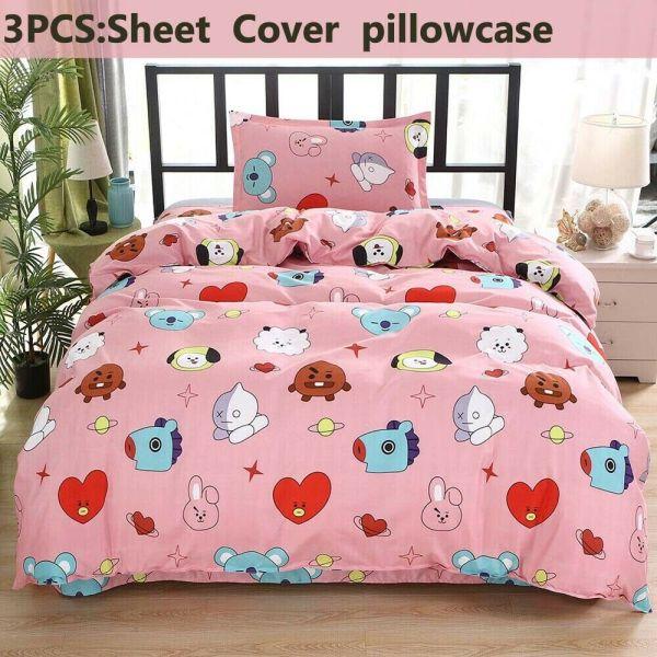 3Pcs/Set BTS Cute Pillow Case Quilt Cover Bedding Sheet JUNG KOOK JIMIN V NEW