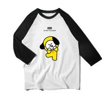 Kpop BTS T shirt  bangtan boys same style with raglan sleeve matching color round collar long sleeve base shirt  T shirt