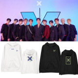 KPOP X1 sweater album concert with the same style sweater hooded hoodie plus velvet thin coat