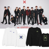 KPOP X1 album concert with the same sweater loose round neck pullover plus velvet thin clothes