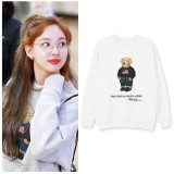 KPOP TWICE sweater Na Yeon airport with the same style bear cub sweater,Sweatshirt Na Yeon