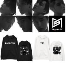 Kpop SUPER M sweater with the same hoodie plus velvet thin Korean version of the loose men and women students jacket