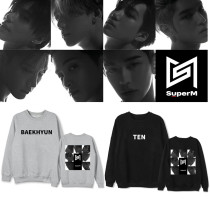Kpop SUPER M sweater the same paragraph round neck sweater and velvet thin loose sweater