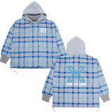 Kpop X1 hooded sweater stitching lattice high collar long-sleeved jacket Korean version of the new sweater