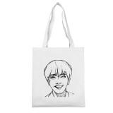 Kpop BTS Shoulder Bag Bnagtan Boys Sketch White Canvas Bag V JIN JIMIN SUGA JUNG KOOK