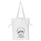 Kpop BTS Shoulder Bag Bangtan Boys Sketch White Canvas Drawstring Bag V SUGA