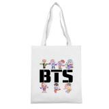 Kpop BTS Shoulder Bag Bangtan Boys figure white canvas bag JUNG KOOK SUGA