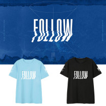 Kpop MONSTA X T-shirt Album FOLLOW FIND YOU Same paragraph Short-sleeved T-shirt