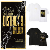 Kpop Stray Kids T-shirt World Tour District 9 Unlock casual Korean short sleeve