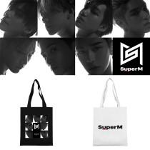 Kpop Super M Shoulder Bag Korean Edition Wild Canvas Bag Tote Bag Student Fashion Storage Bag