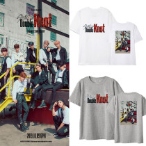 Kpop Stray Kids T-shirt New album Double knot Surrounded Short sleeve Loose casual Korean version Top