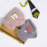 Kpop BTS Gloves Bangtan Boys New Half Finger Gloves Cute Rabbit Plush Warm Winter Gloves CHIMMY COOKY KOYA