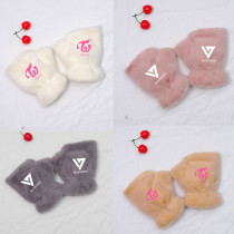 Kpop Idol Producer TWICE SEVENTEEN Gloves New Cute Rabbit Plush Warm Half Finger Gloves