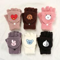 Kpop BTS Gloves Bangtan Boys New Coral Fleece Flap Warm Gloves Cold Resistance Student Writing Gloves
