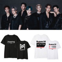 Kpop SUPER M North America Tour Official T-Shirt Undershirt Loose Male and Female Students Short Sleeve