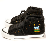 Kpop BTS Shoes Bangtan Boys Canvas Shoes Lamb Wool Plus Velvet Thickened High-top Shoes CHIMMY COOKY KOYA