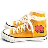 Kpop BTS Shoes Bangtan Boys New high-top Shoes Candy Color Canvas Shoes Plus Velvet Casual Shoes