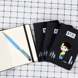 Kpop BTS Notebook Bangtan Boys Q Edition Cartoon Cute Student Black Scrub Writing Diary