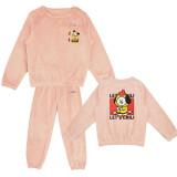 Kpop BTS Bangtan Boys Tracksuit New Women's Pajamas Pajamas Coral Fleece Warm Two-Piece Set Sleepwear