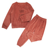 Kpop BTS Sleepwear Bangtan Boys Tracksuit Korean Women's New Pullover Coral Fleece Warm Two-Piece Set Pajamas