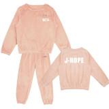 Kpop BTS Bangtan Boys SleepwearPajamas Pants Korean Women's New Coral Fleece Warm Two-Piece Set Tracksuit