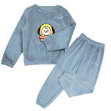Kpop BTS Bangtan Boys Sleepwear New Cute Women's Pajamas Pajamas Coral Fleece Warm Two-Piece Set Tracksuit