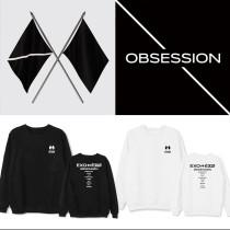 Kpop EXO 6 Series OBSESSION Round Neck Sweatshirt Jacket Plus Velvet Thin Spring and Autumn Sweatshirt