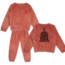 Kpop MONSTA X  Sleepwear Tracksuit  Pants Korean Women's New Coral Fleece Warm Two-Piece Set
