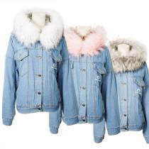 Kpop ASTRO MJ JINJIN Same Cotton Jacket Denim Jacket Plus Velvet Winter CottonJacket
