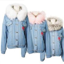Kpop MONSTA X Outfit World Tour Concert Birthday Hooded Denim Cotton Jacket Plus Velvet Cotton Jacket