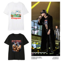 Kpop G-DRAGON T-shirt Concert With The Same Clothes Korean Version Loose Short-sleeved Bottoming Shirt