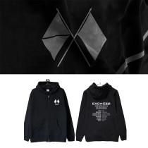 Kpop EXO Sweatshirt OBSESSION The same Style Zipper Sweater Plus Velvet Autumn and Winter Coat Hoodie