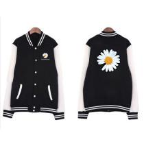 Kpop G-DRAGON Baseball Uniform Colorblock Cardigan Plus Velvet Spring and Autumn Coat