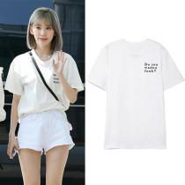 Kpop NCT JOHNNY same T-shirt IZONE-SAKURA Same Short-sleeved T-shirt