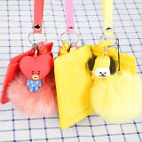 Kpop BTS Bangtan Boys BT21 Keychain with the Same Plush Cartoon Doll Pendant Student Cute Card Bag