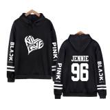 Kpop BLACKPINK Hooded Sweater Black Parallel Bars Plus Velvet Coat JENNIE JISOO LISA ROSE