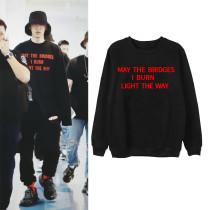 Kpop EXO Sweater CHANYEOL Same Clothes Airport Street Photo Round Neck Sweatshirt Thin Section Coat Korean Loose Top