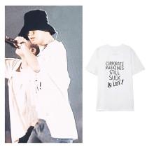Kpop EXO T-shirt CHANYEOL Concert same T-shirt Korean Loose Couples Short Sleeve
