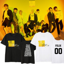 Kpop Straykids T-shirt Yellow Wood Same Short-sleeved Korean Loose T-shirt