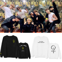 Kpop Stray Kids Concert District 9 Unlock Round Neck Sweater Plus Velvet Top