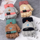 Kpop BTS Gloves Bangtan Boys Children Lambskin Halter Gloves Plus Velvet Cute Baby Warm Gloves TATA  KOYA