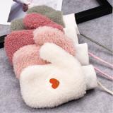 Kpop BTS Gloves Bangtan Boys Children Lambskin Halter Gloves Plus Velvet Cute Baby Warm Gloves CHIMMY KOYA