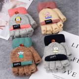 Kpop BTS Gloves Bangtan Boys Knit Warm Flip Gloves Korean Version Color Blocking Half Finger Gloves KOYA RJ TATA