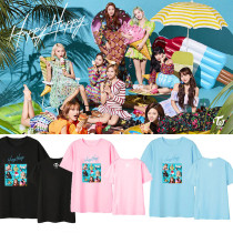 Kpop TWICE T-Shirt Japanese Album HAPPY HAPPY Short Sleeve Korean Loose T-Shirt
