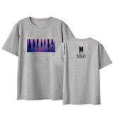 Kpop BTS T-shirt Bangtan Boys 2020 Tour Clothes Short-sleeved T-shirt New Printing Base Shirt Loose T-shirt