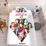 Kpop TWICE 3Pc / Set Quilt Cover Digital Printing 3D Hand Painted New Bed Sheet Pillow Case Single Bed Supplies 1.5 Meters